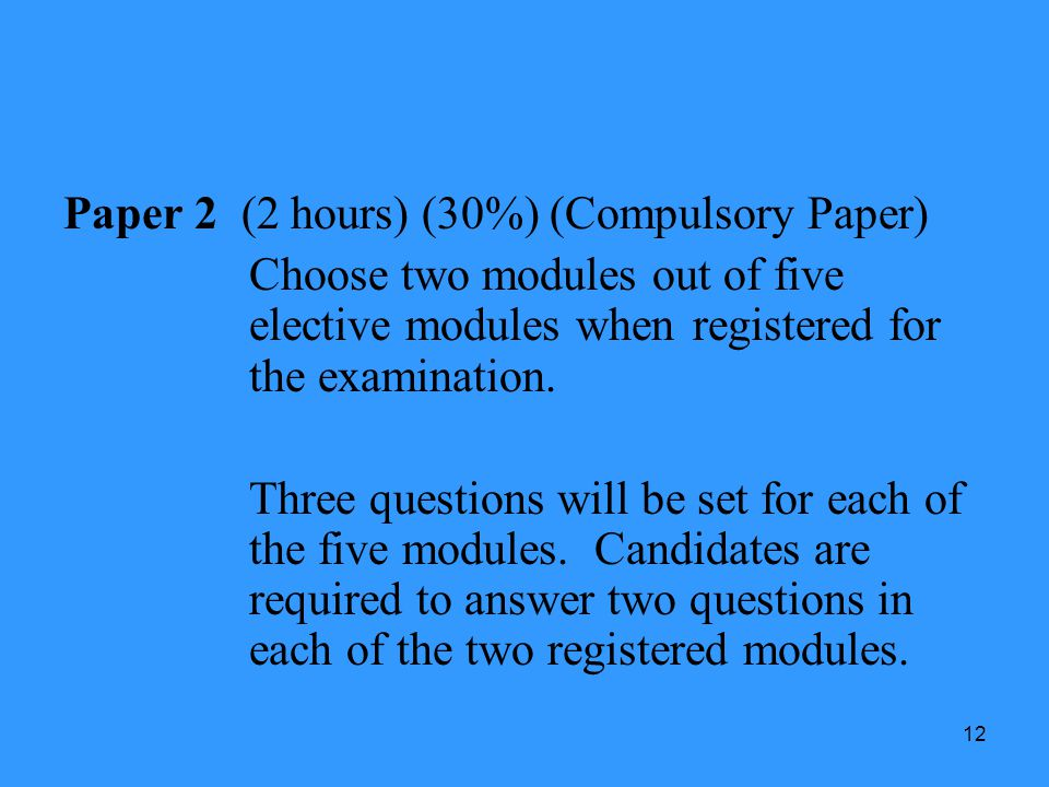 12 Paper 2 (2 hours) (30%) (Compulsory Paper) Choose two modules out of five elective modules when registered for the examination. Three questions wil