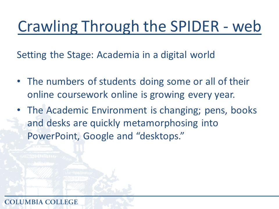 Crawling Through the SPIDER - web Source: Online Nation: Five Years of Growth in Online Learning.