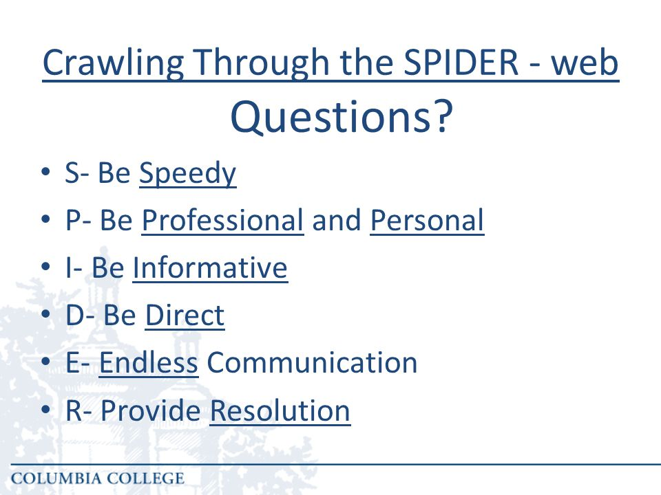 Crawling Through the SPIDER - web S- Be Speedy P- Be Professional and Personal I- Be Informative D- Be Direct E- Endless Communication R- Provide Resolution Questions?
