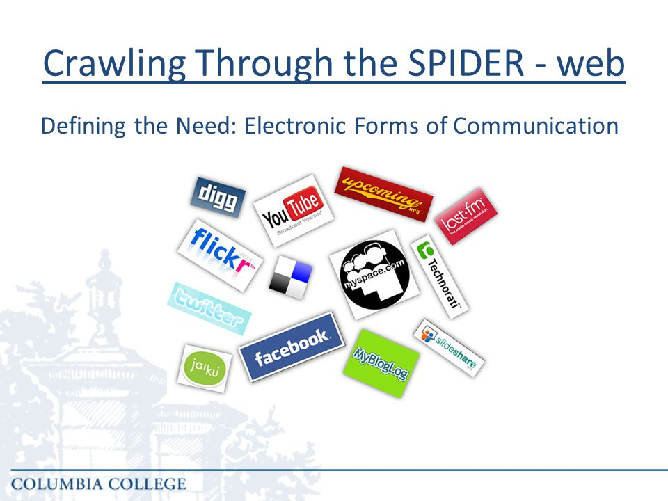 Crawling Through the SPIDER - web All students, even those not solely online students increasingly rely on electronic forms of communication for information.