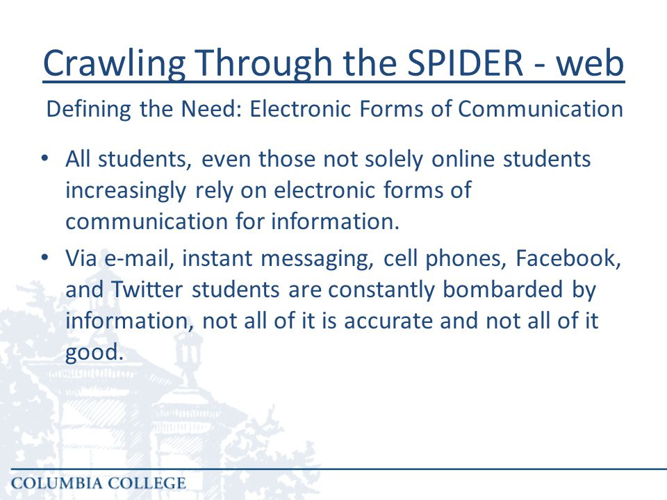 Crawling Through the SPIDER - web The question truly becomes; How do we, as academic advisors, make the best use of these online tools to stay in touch with our students and help them navigate the complexities of pursuing a college degree.