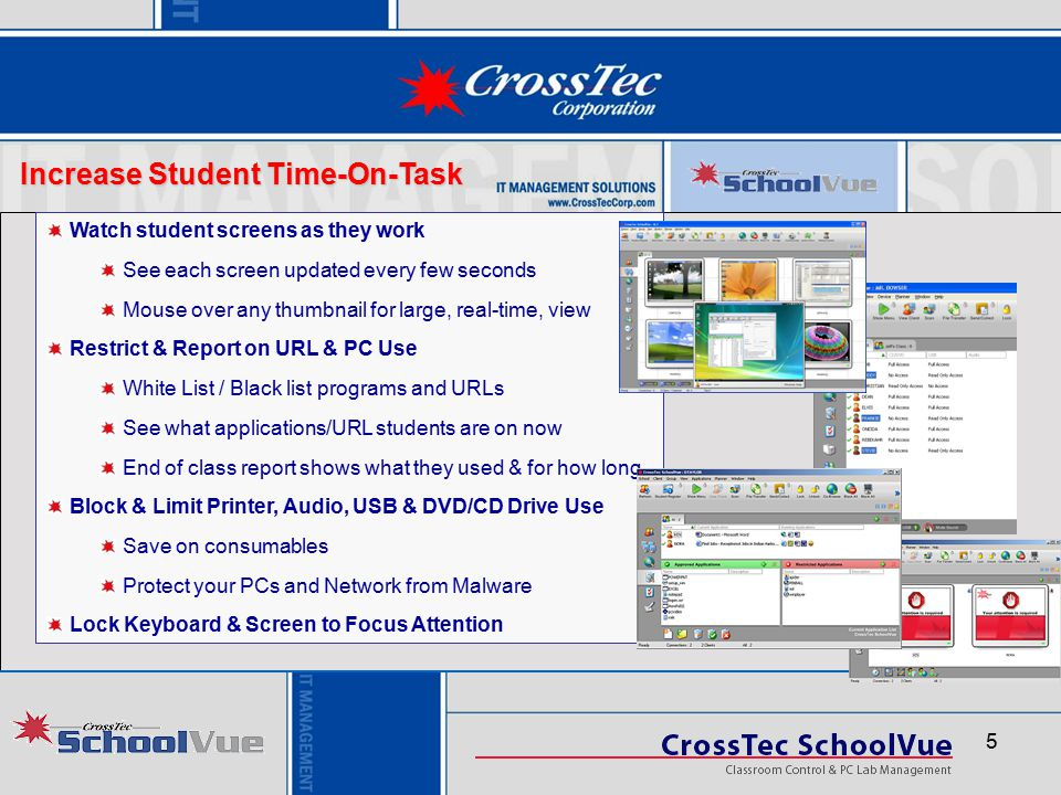 6 Enhance Classroom Interaction Broadcast real-time screen demos to class Display part or entire screen Show Student screens to teach by example Display and control video Student keyboards and mice do not work in demo mode Create PC based tests, quizzes & surveys for assessment Multiple question types Timed, auto-grade, great reports & student feedback Quick surveys to see if students grasped a concept Whiteboard, Chat, Pass off control of demo Hand off control to students