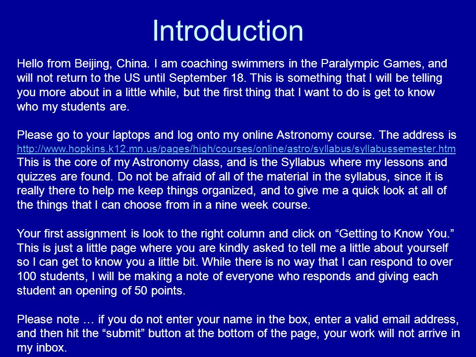 Introduction Hello from Beijing, China.