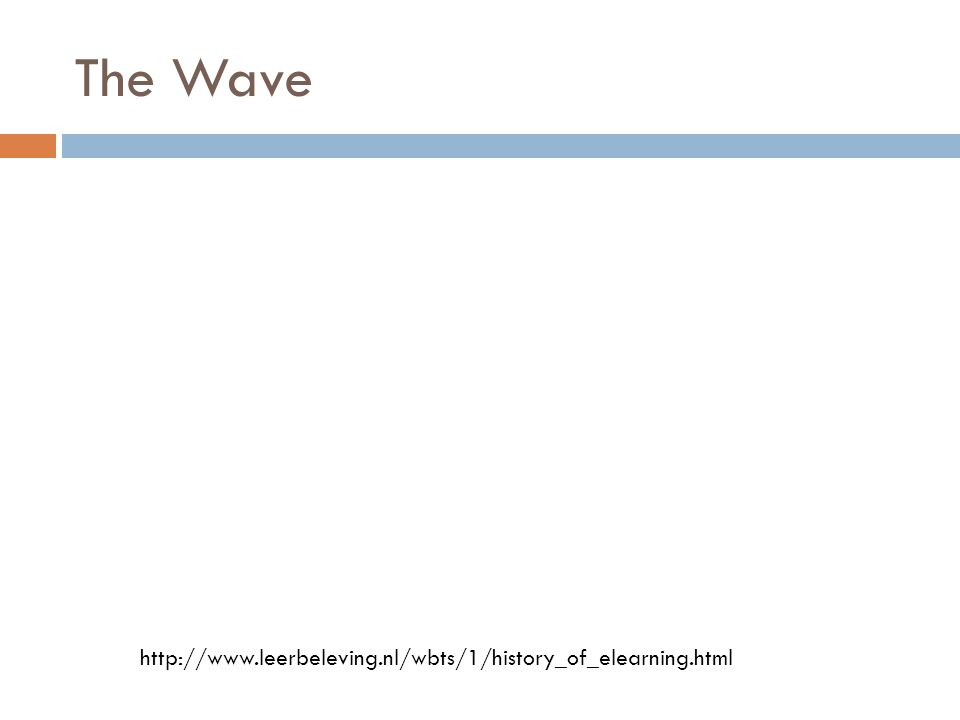 The Wave http://www.leerbeleving.nl/wbts/1/history_of_elearning.html