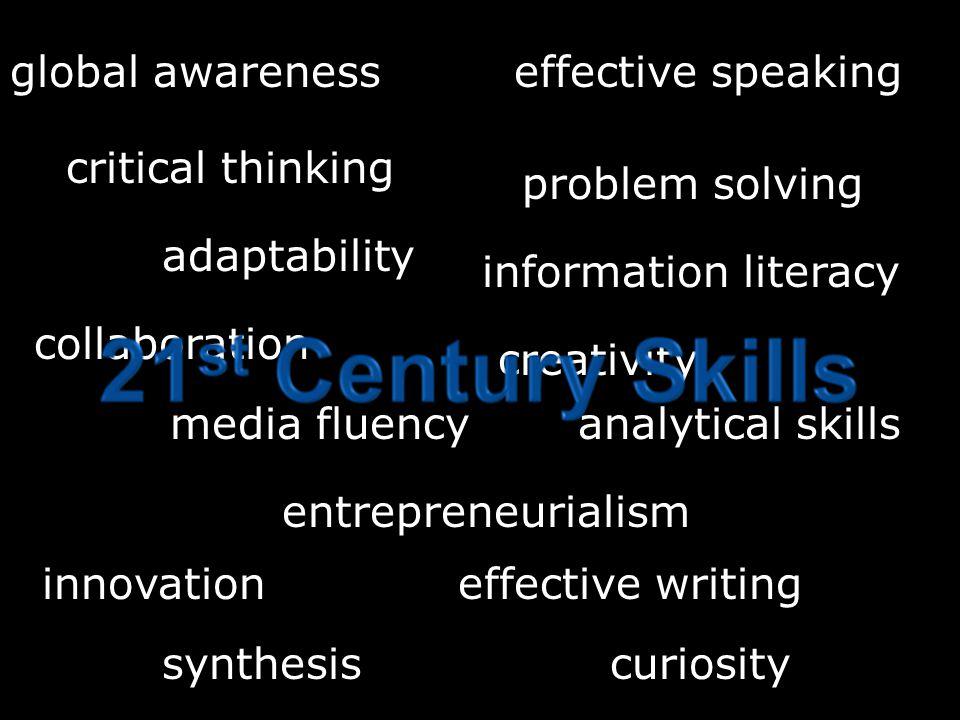 critical thinking problem solving collaboration adaptability entrepreneurialism creativity effective speaking effective writinginnovation information