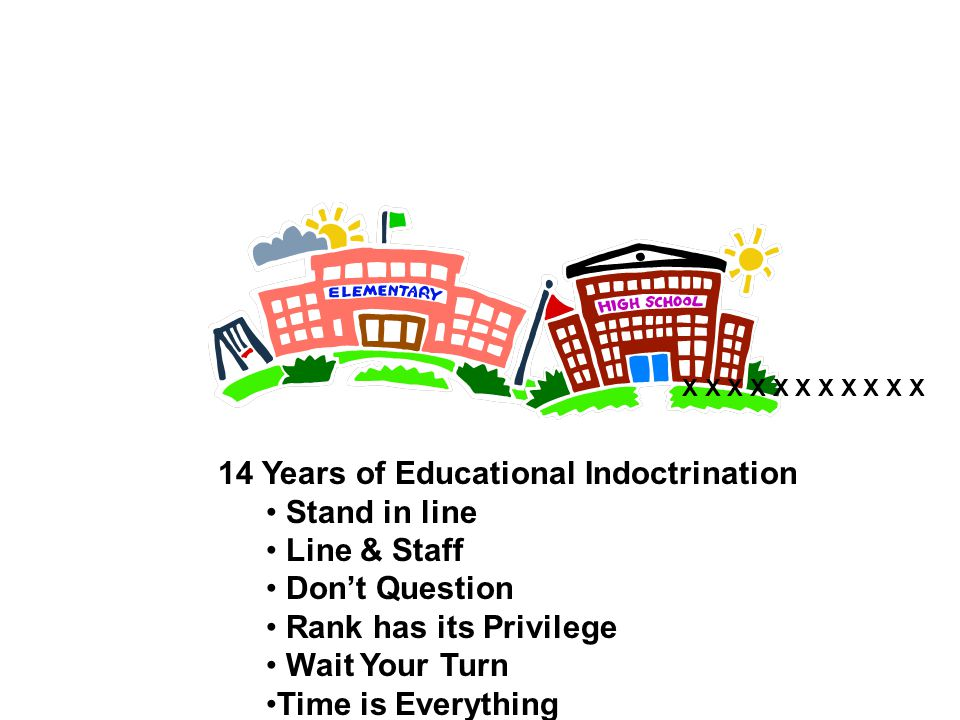 14 Years of Educational Indoctrination Stand in line Line & Staff Don't Question Rank has its Privilege Wait Your Turn Time is Everything X X X X X X