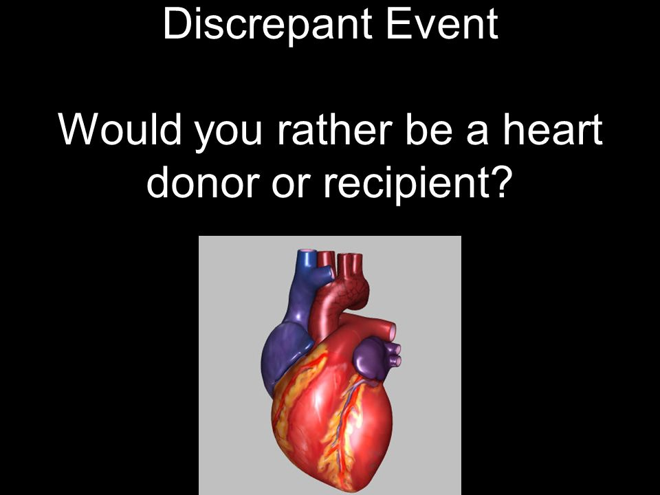 Discrepant Event Would you rather be a heart donor or recipient