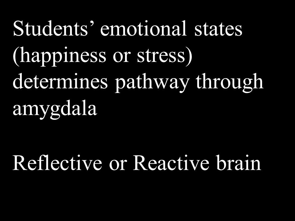 Students' emotional states (happiness or stress) determines pathway through amygdala Reflective or Reactive brain
