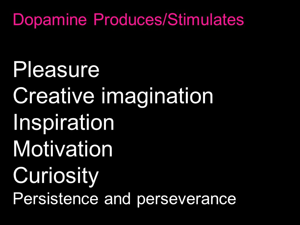 Dopamine Produces/Stimulates Pleasure Creative imagination Inspiration Motivation Curiosity Persistence and perseverance