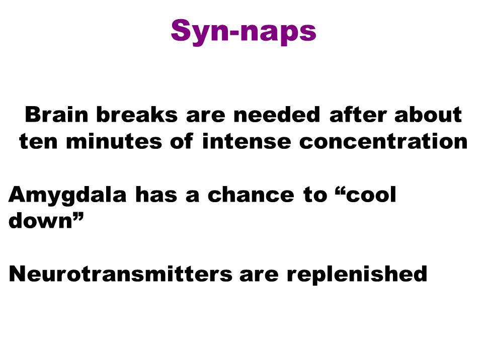 Syn-naps Brain breaks are needed after about ten minutes of intense concentration Amygdala has a chance to cool down Neurotransmitters are replenished
