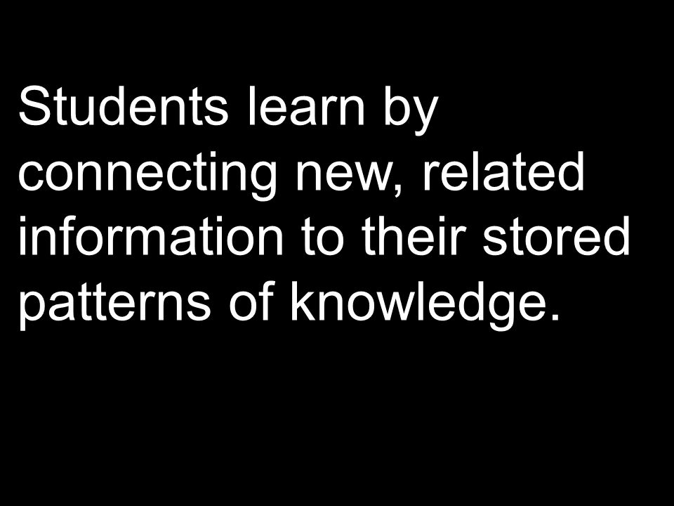 Students learn by connecting new, related information to their stored patterns of knowledge.