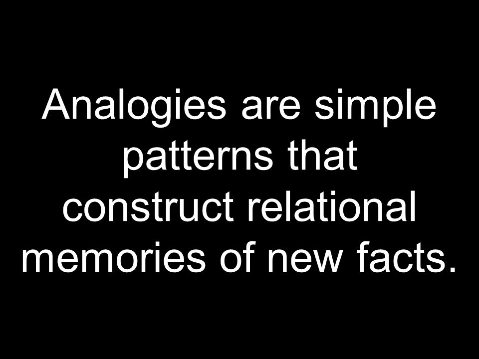 Analogies are simple patterns that construct relational memories of new facts.
