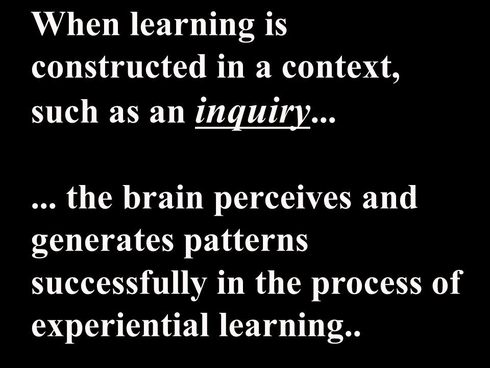 When learning is constructed in a context, such as an inquiry......