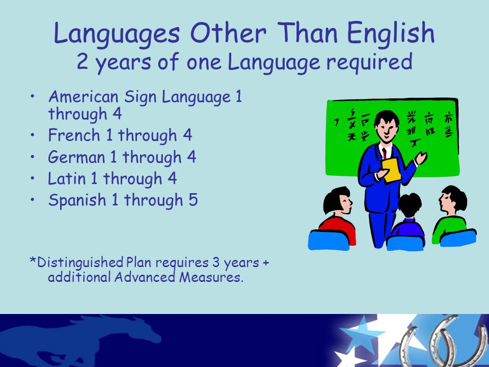 Languages Other Than English 2 years of one Language required American Sign Language 1 through 4 French 1 through 4 German 1 through 4 Latin 1 through 4 Spanish 1 through 5 *Distinguished Plan requires 3 years + additional Advanced Measures.