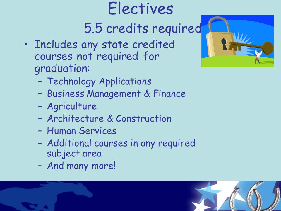 Electives 5.5 credits required Includes any state credited courses not required for graduation: –Technology Applications –Business Management & Finance –Agriculture –Architecture & Construction –Human Services –Additional courses in any required subject area –And many more!