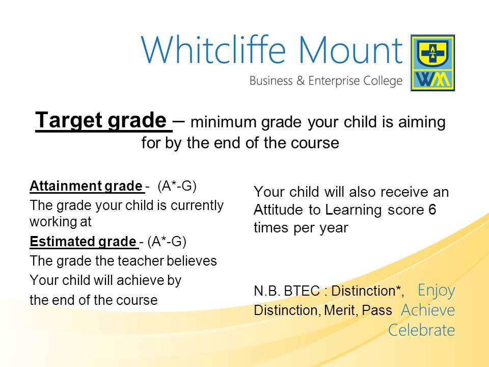 Target grade – minimum grade your child is aiming for by the end of the course Attainment grade - (A*-G) The grade your child is currently working at Estimated grade - (A*-G) The grade the teacher believes Your child will achieve by the end of the course Your child will also receive an Attitude to Learning score 6 times per year N.B.