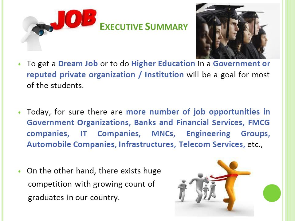 E XECUTIVE S UMMARY To get a Dream Job or to do Higher Education in a Government or reputed private organization / Institution will be a goal for most