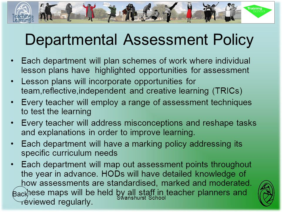 Swanshurst School Departmental Assessment Policy Each department will plan schemes of work where individual lesson plans have highlighted opportunitie