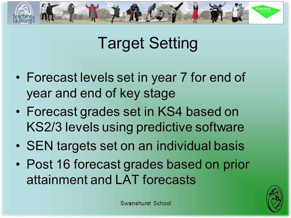 Swanshurst School Target Setting Forecast levels set in year 7 for end of year and end of key stage Forecast grades set in KS4 based on KS2/3 levels u