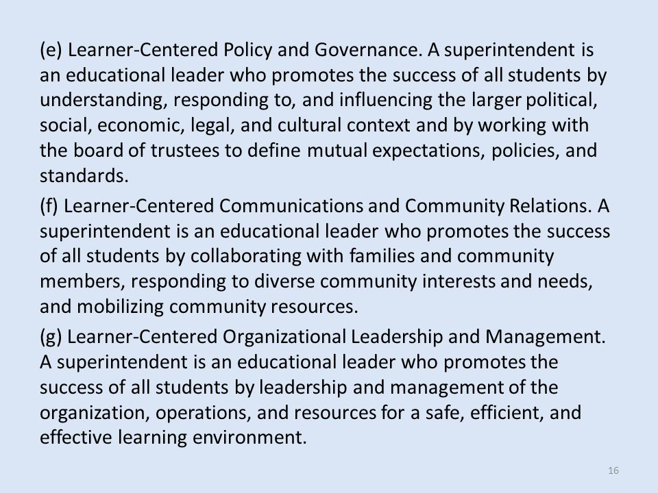 (e) Learner-Centered Policy and Governance.