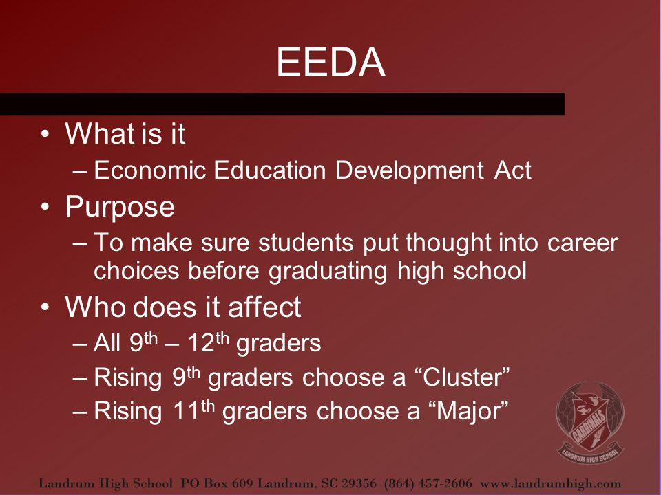 EEDA What is it –Economic Education Development Act Purpose –To make sure students put thought into career choices before graduating high school Who does it affect –All 9 th – 12 th graders –Rising 9 th graders choose a Cluster –Rising 11 th graders choose a Major