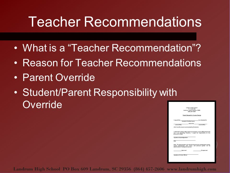 Teacher Recommendations What is a Teacher Recommendation .