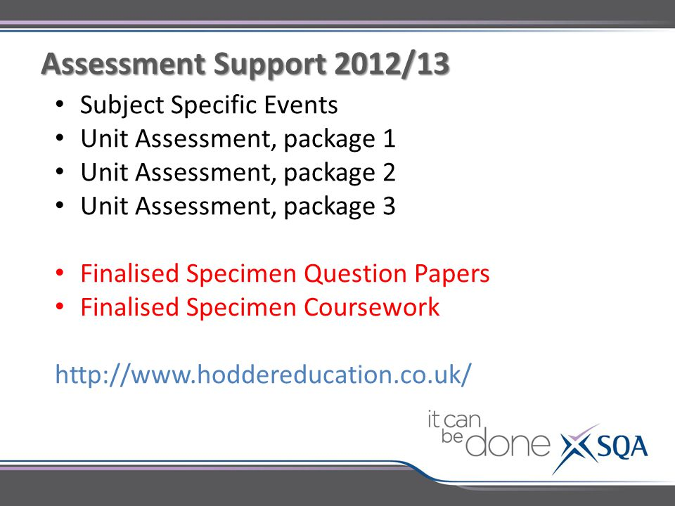 Subject Specific Events Unit Assessment, package 1 Unit Assessment, package 2 Unit Assessment, package 3 Finalised Specimen Question Papers Finalised Specimen Coursework http://www.hoddereducation.co.uk/ Assessment Support 2012/13