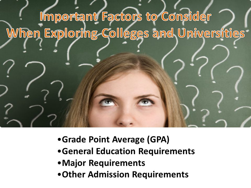 Grade Point Average (GPA) General Education Requirements Major Requirements Other Admission Requirements