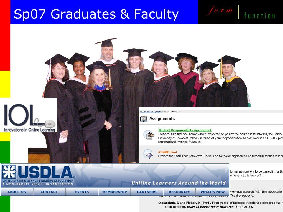 m o v i n g online, i m p r o v i n g onsite f o r m f u n c t i o n Sp07 Graduates & Faculty