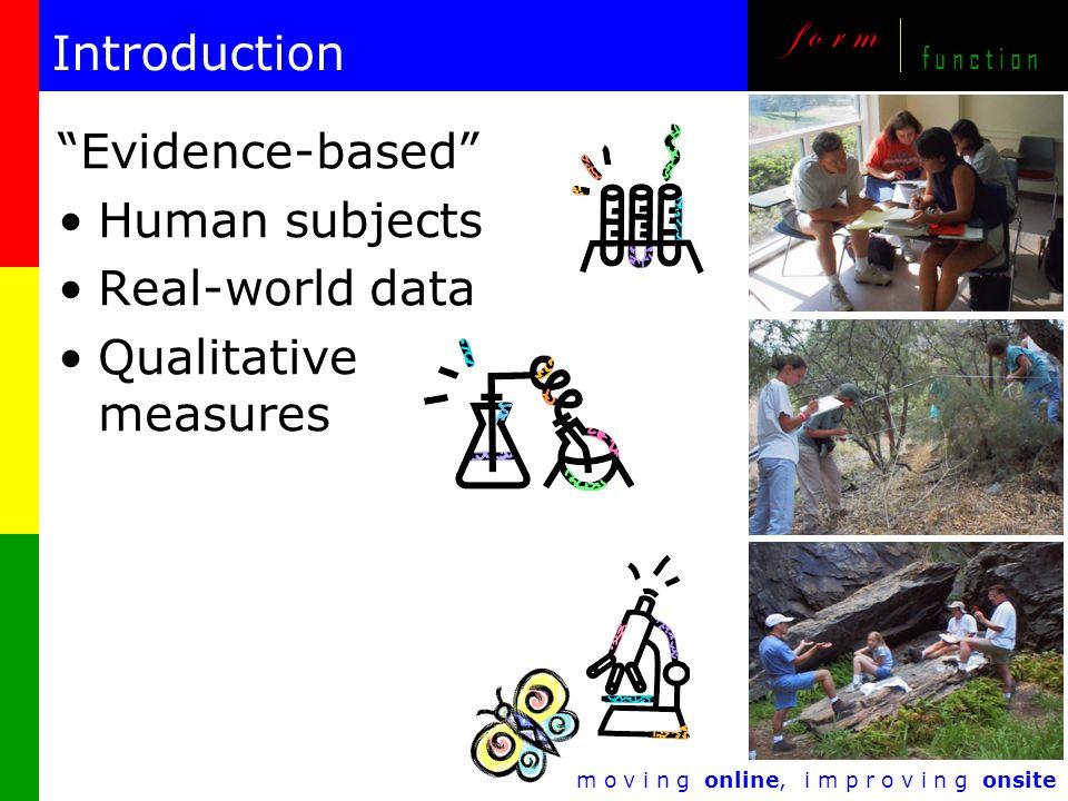 m o v i n g online, i m p r o v i n g onsite f o r m f u n c t i o n Introduction Evidence-based Human subjects Real-world data Qualitative measures