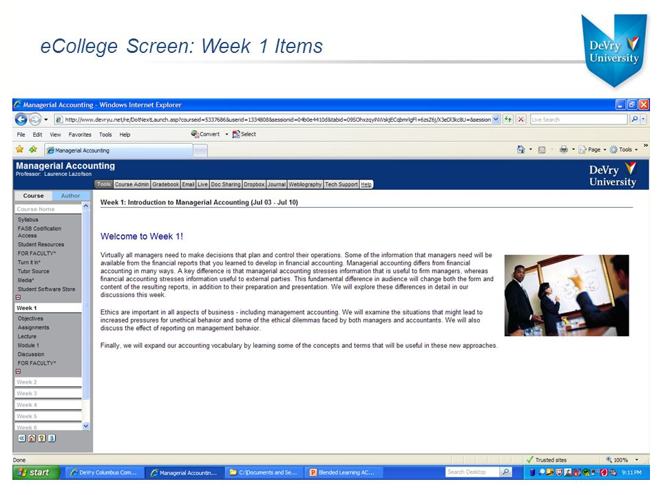 eCollege Screen: Week 1 Items