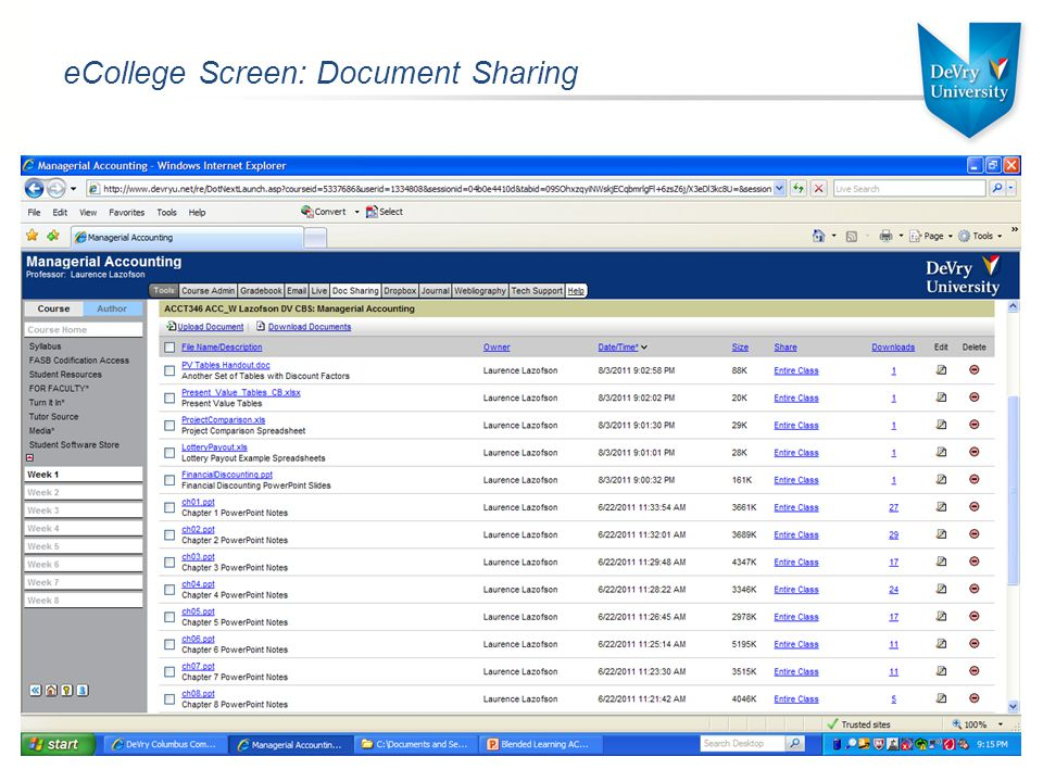 eCollege Screen: Document Sharing