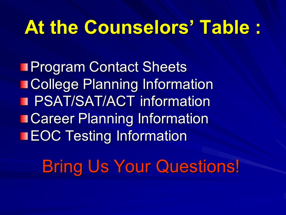At the Counselors' Table : Program Contact Sheets College Planning Information PSAT/SAT/ACT information PSAT/SAT/ACT information Career Planning Information EOC Testing Information Bring Us Your Questions!