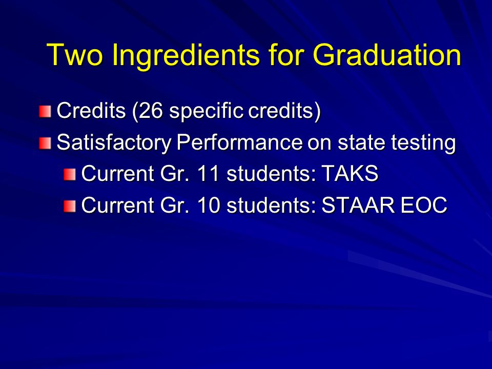 Two Ingredients for Graduation Credits (26 specific credits) Satisfactory Performance on state testing Current Gr.