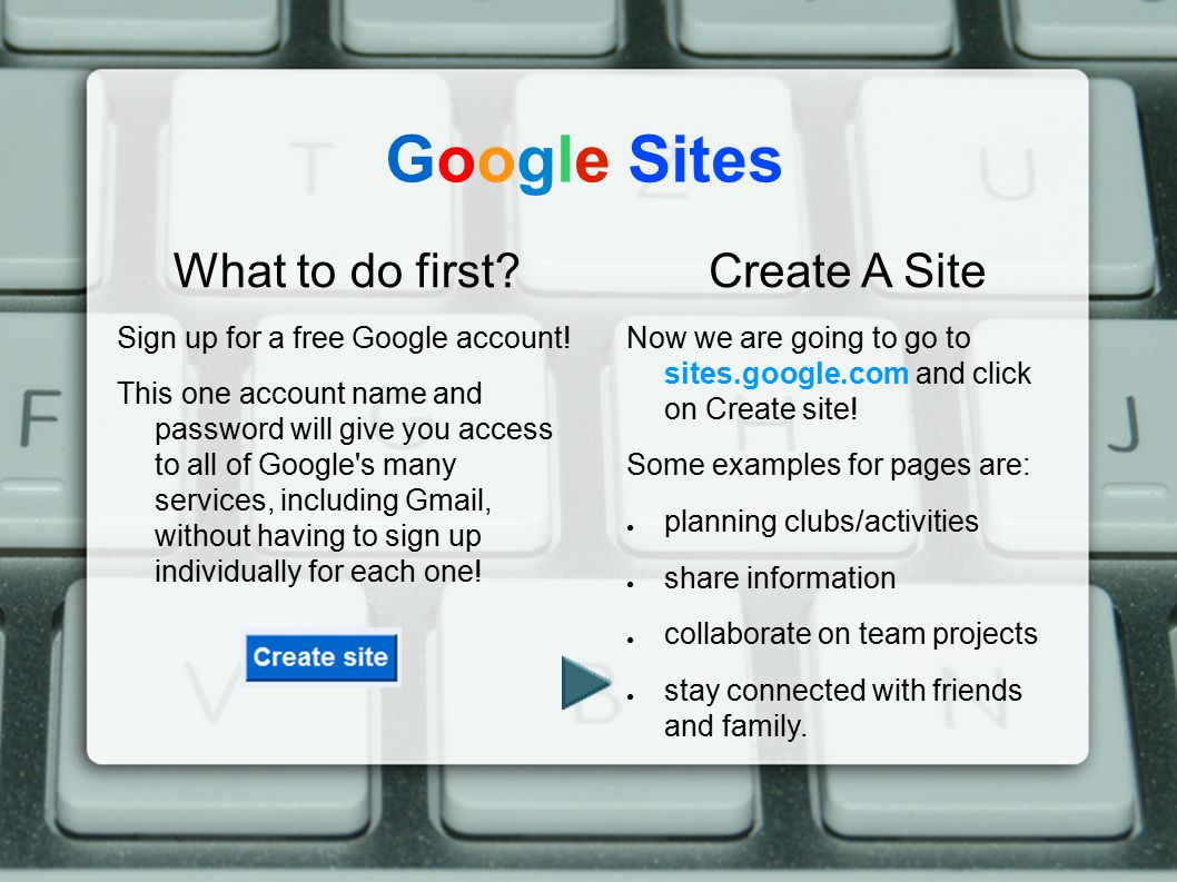 "Google Sites Background Google Sites was built around software called ""JotSpot"", which was acquired in 2006. Google first launched the technology as G"