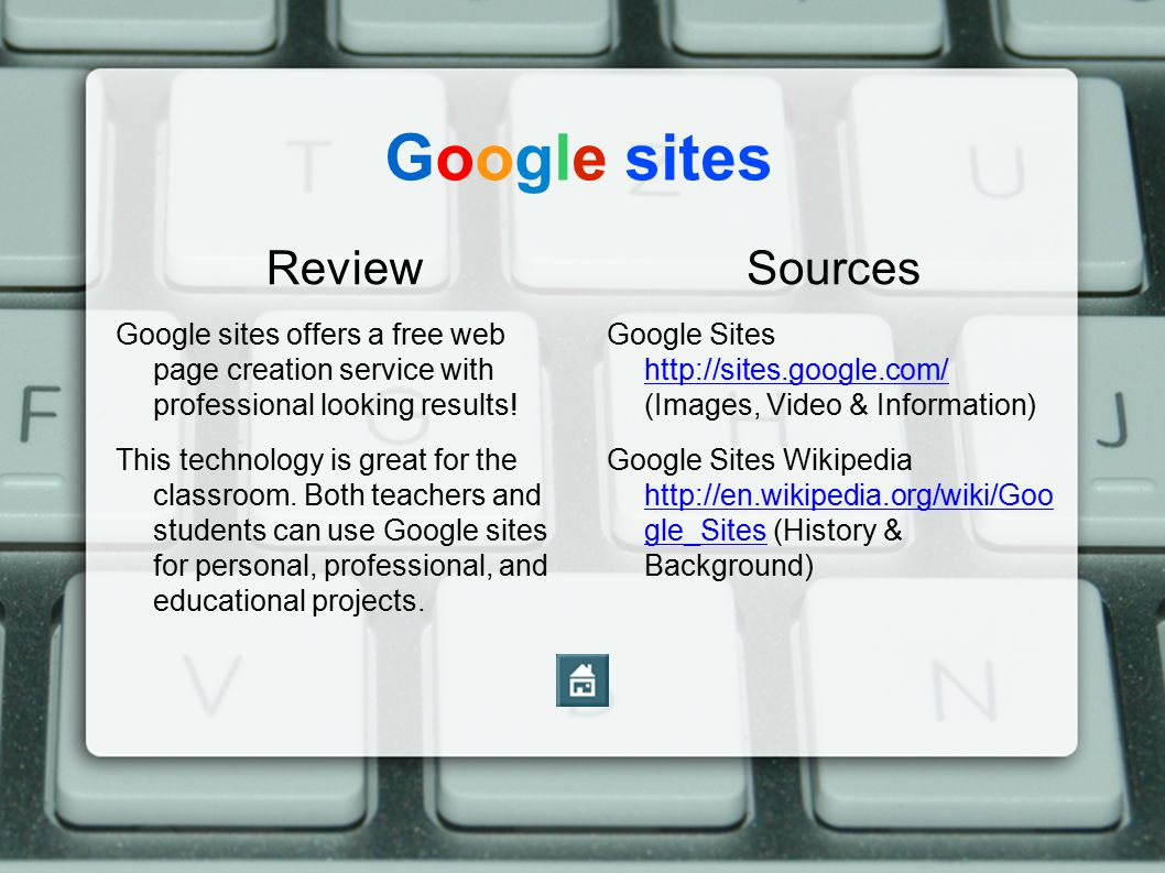 Google sites Review Google sites offers a free web page creation service with professional looking results.