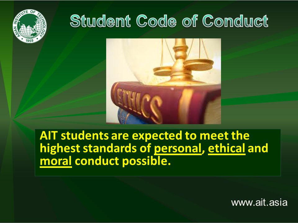 www.ait.asia 11–12 August 2014: HOLIDAYS On Wednesday, 13 August:  Submit your missing documents, if any, show receipt of first semester fees payment, application fee (if not yet paid) and your completed Registration form to Student Office;  If documents are complete, you will obtain the following: (i) Password Slip to SIS; (ii) ID request form  If documents are incomplete, your password slip will not be released.