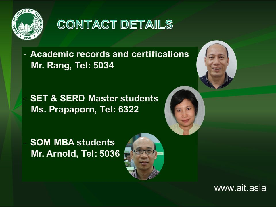 www.ait.asia -Academic records and certifications Mr.