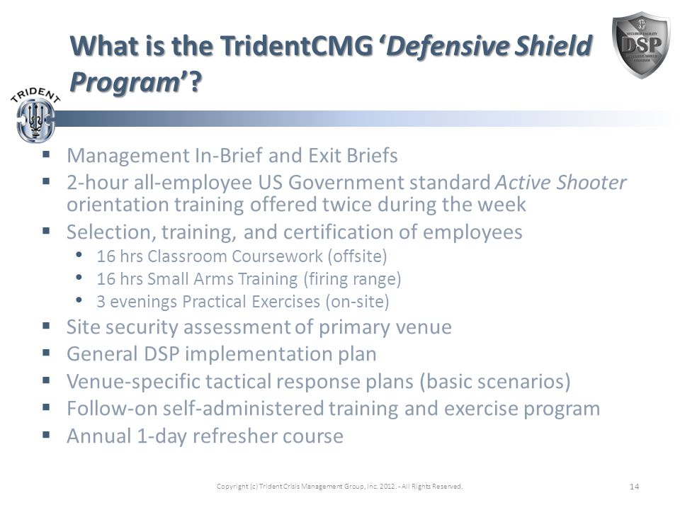What is the TridentCMG 'Defensive Shield Program'.