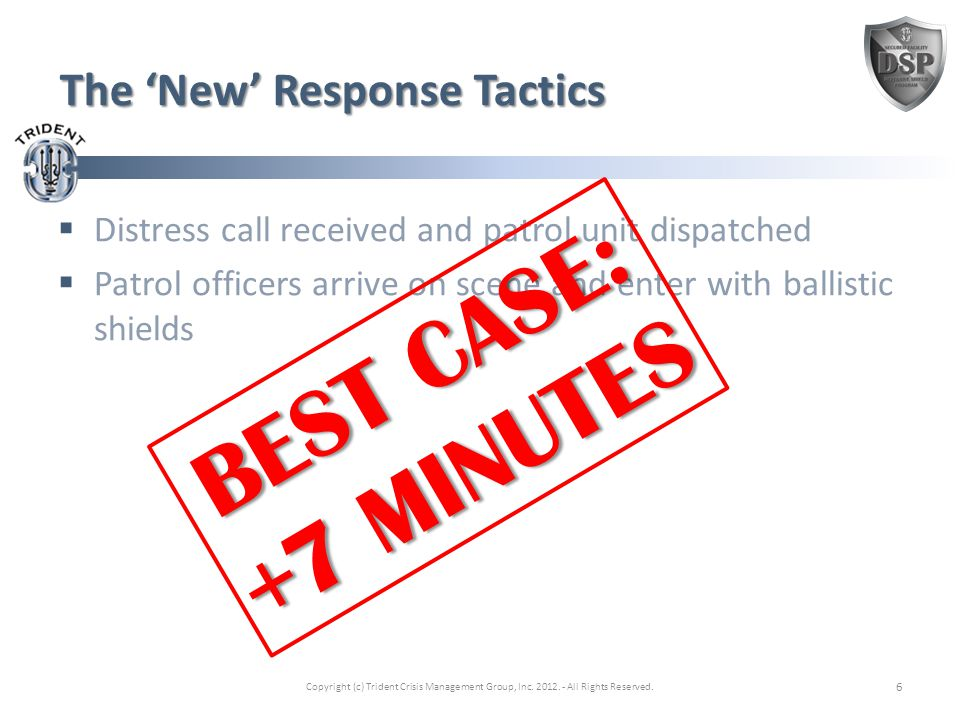 The 'New' Response Tactics  Distress call received and patrol unit dispatched  Patrol officers arrive on scene and enter with ballistic shields Copyright (c) Trident Crisis Management Group, Inc.