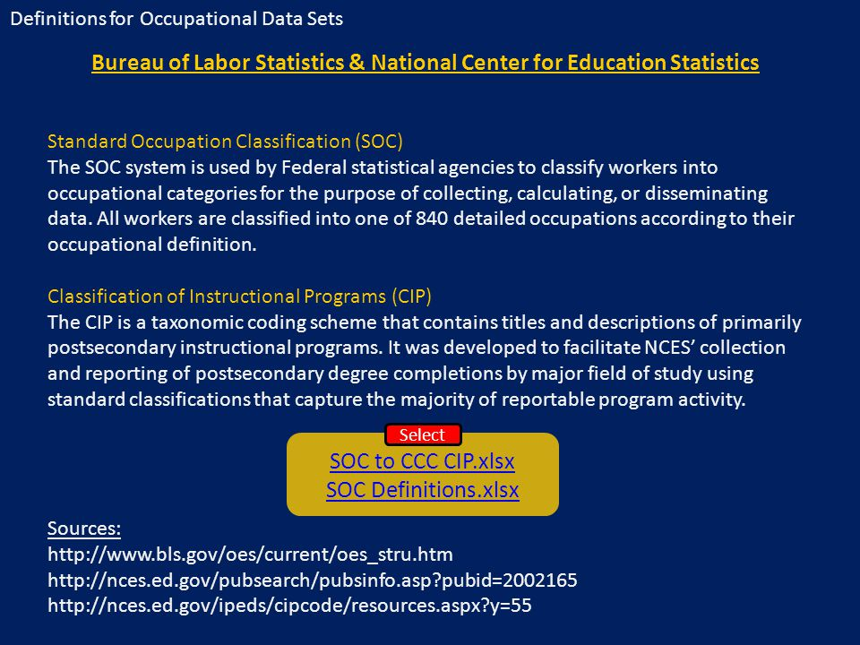 Bureau of Labor Statistics & National Center for Education Statistics Standard Occupation Classification (SOC) The SOC system is used by Federal statistical agencies to classify workers into occupational categories for the purpose of collecting, calculating, or disseminating data.