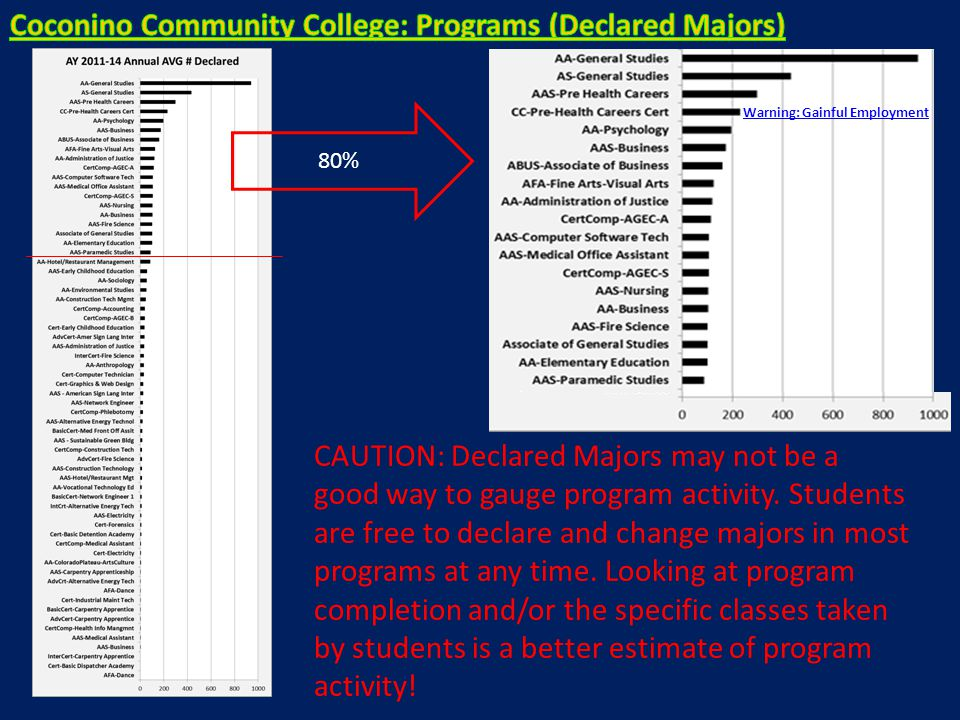 80% CAUTION: Declared Majors may not be a good way to gauge program activity. Students are free to declare and change majors in most programs at any t