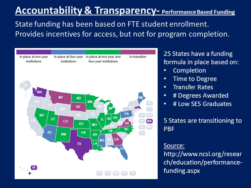Accountability & Transparency- Performance Based Funding State funding has been based on FTE student enrollment. Provides incentives for access, but n