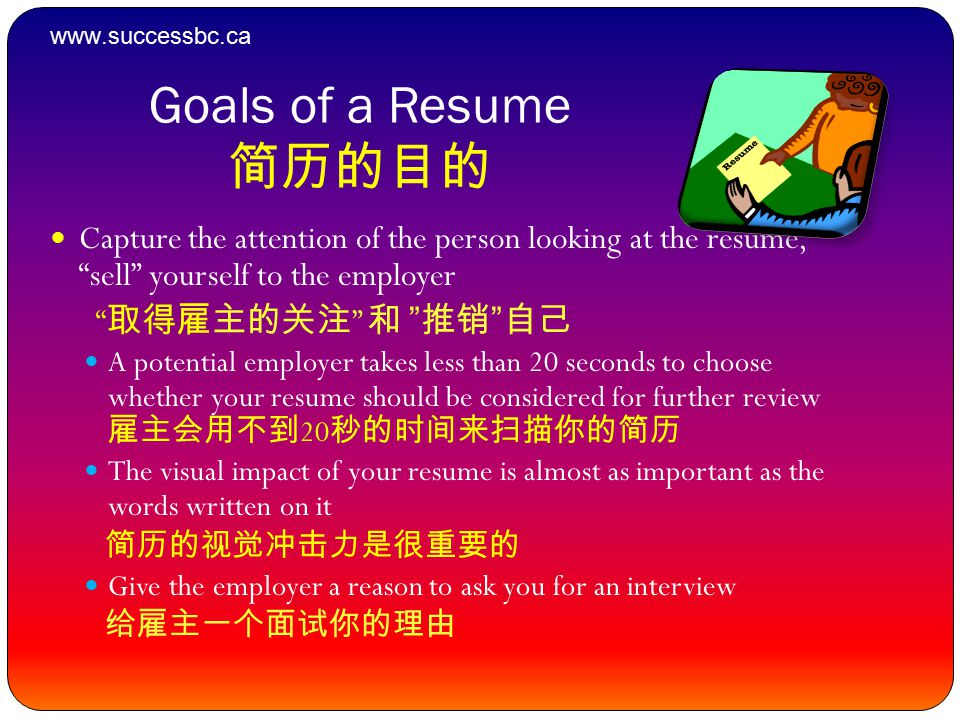 Goals of a Resume 简历的目的 Capture the attention of the person looking at the resume, sell yourself to the employer 取得雇主的关注 和 推销 自己 A potential employer takes less than 20 seconds to choose whether your resume should be considered for further review 雇主会用不到 20 秒的时间来扫描你的简历 The visual impact of your resume is almost as important as the words written on it 简历的视觉冲击力是很重要的 Give the employer a reason to ask you for an interview 给雇主一个面试你的理由 www.successbc.ca