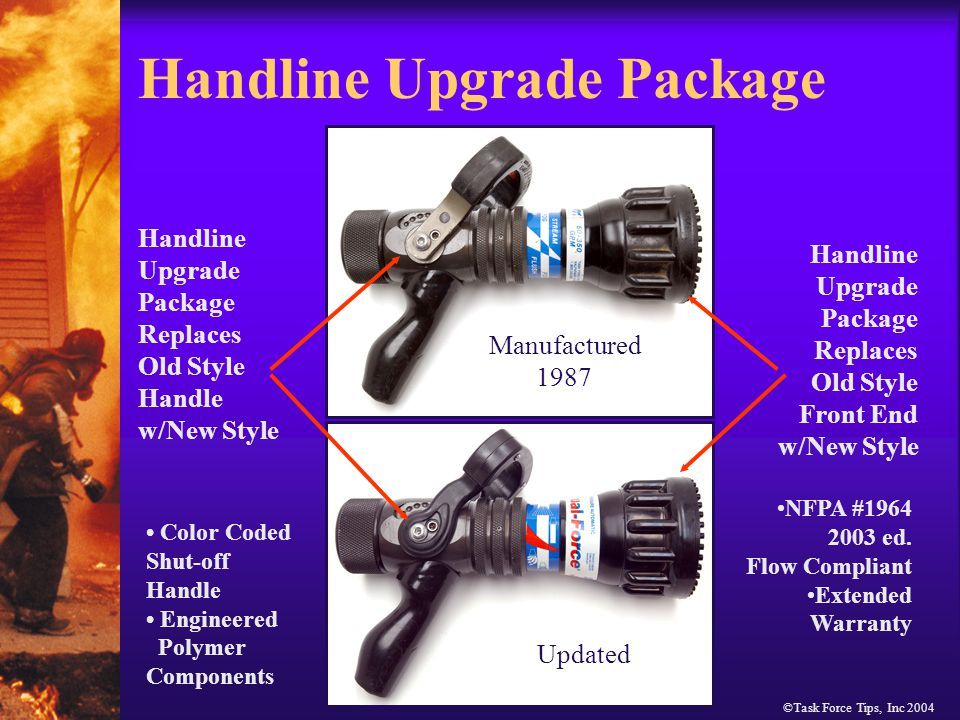 ©Task Force Tips, Inc 2004 Handline Upgrade Package Handline Upgrade Package Replaces Old Style Handle w/New Style Handline Upgrade Package Replaces Old Style Front End w/New Style Manufactured 1987 NFPA #1964 2003 ed.