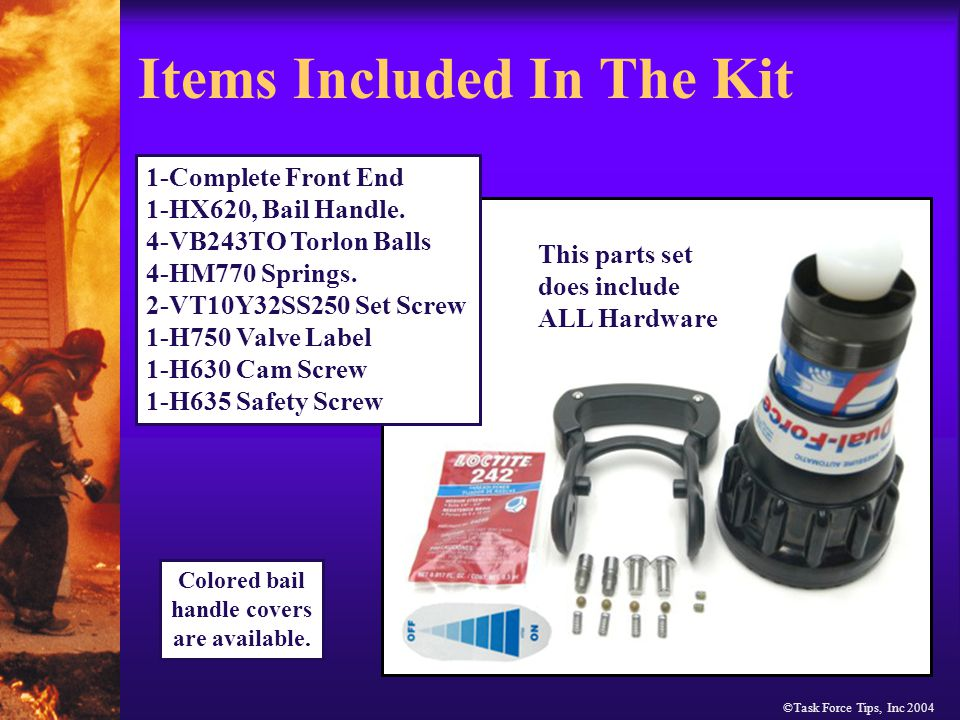 ©Task Force Tips, Inc 2004 Install set screws included in kit.