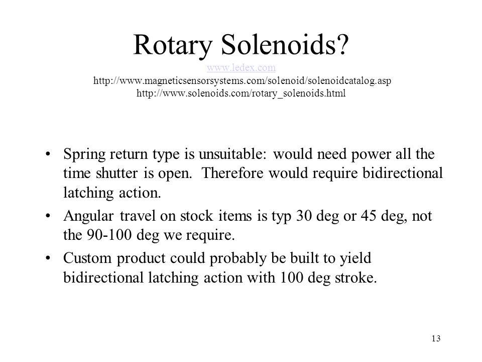 13 Rotary Solenoids.