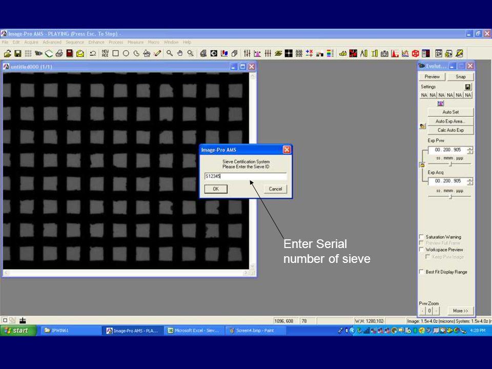 Enter Serial number of sieve