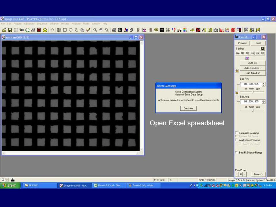 Open Excel spreadsheet