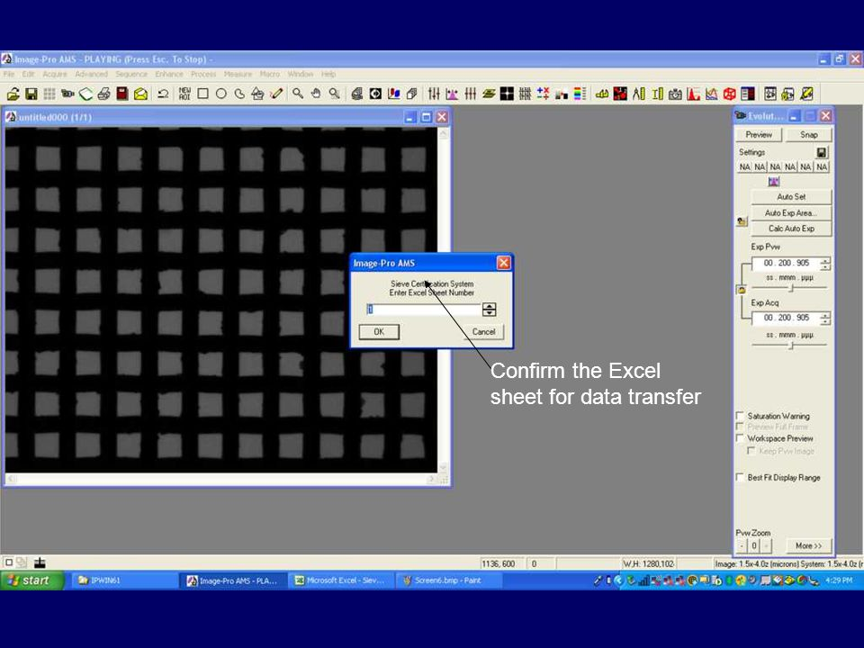 Confirm the Excel sheet for data transfer